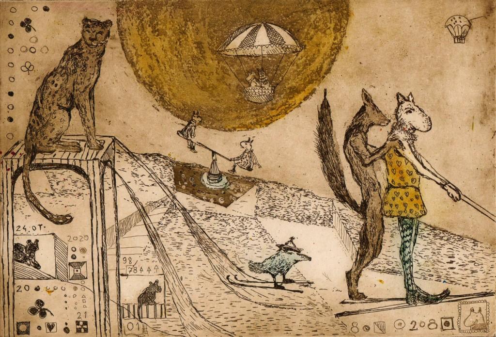 puma, balony i narciarze